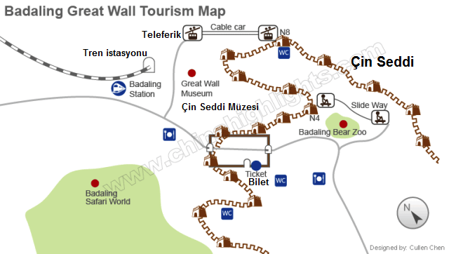 Great Wall of China sightseeing map