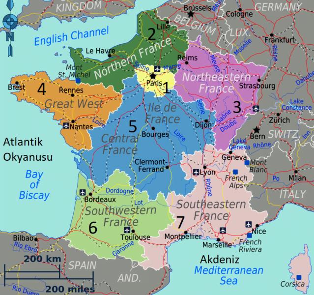Fransa bölgeler harita