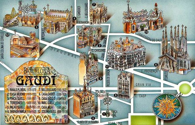 Barcelona Gaudi tour map