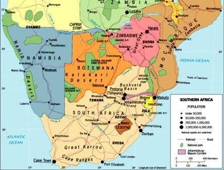 güney afrika harita