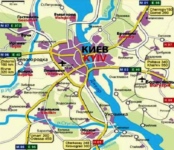 Kiev ulaşım haritası