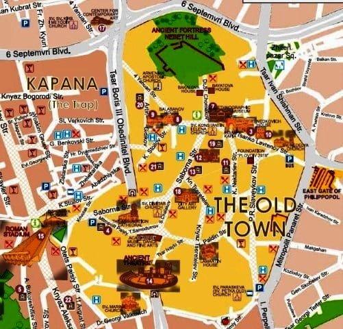 Plovdiv gezilecek yerler haritası