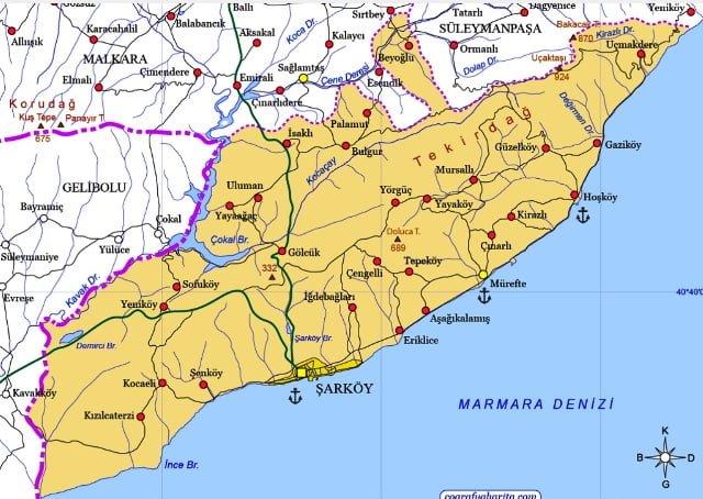 Şarköy harita