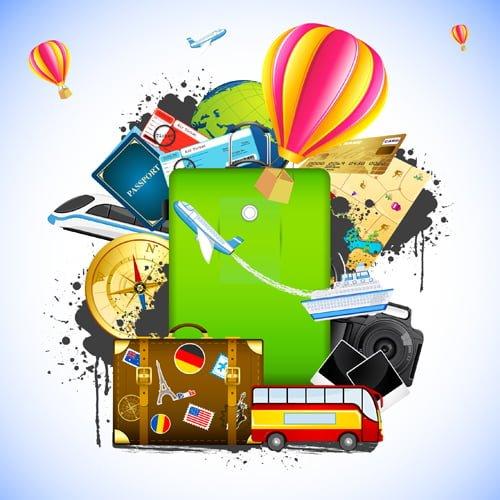 Yurt dışı seyahat için eşyalar güvenlik pasaport bilet
