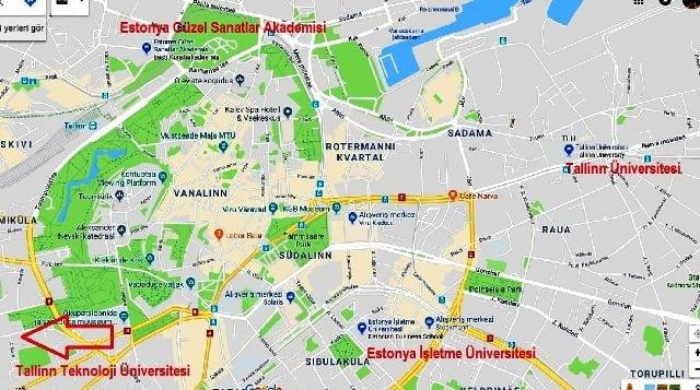 Tallinn üniversitesi nerede harita
