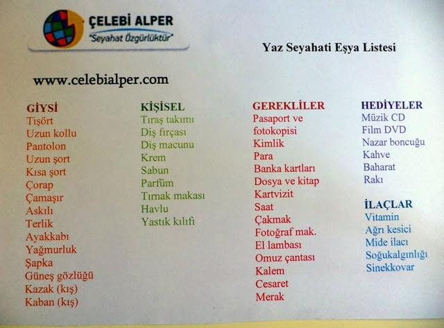 yurt disi seyahat esya listesi tatil esya listesi celebi alper metin çelebi